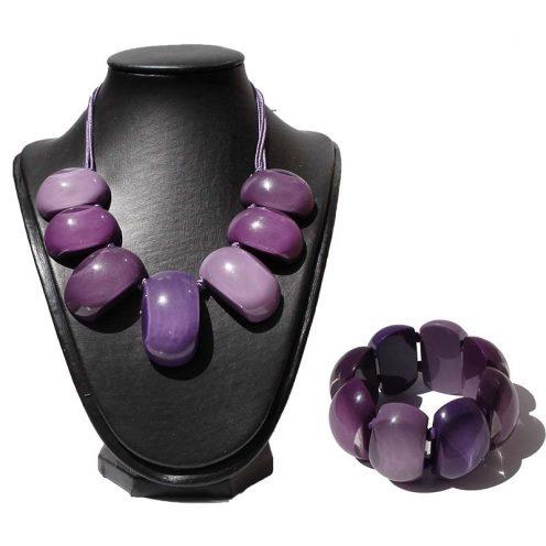 halsketting en armband paars