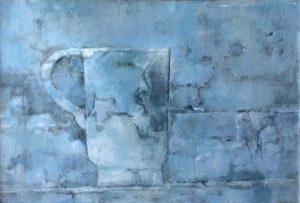 Jan Miechels - blauwe kan - acryl op paneel