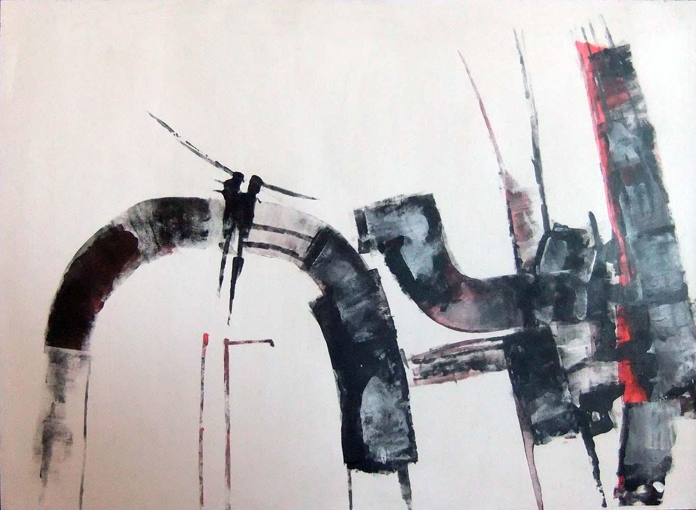 Wim van Oostrom nr 3 - acryl op paneel - 50x70cm