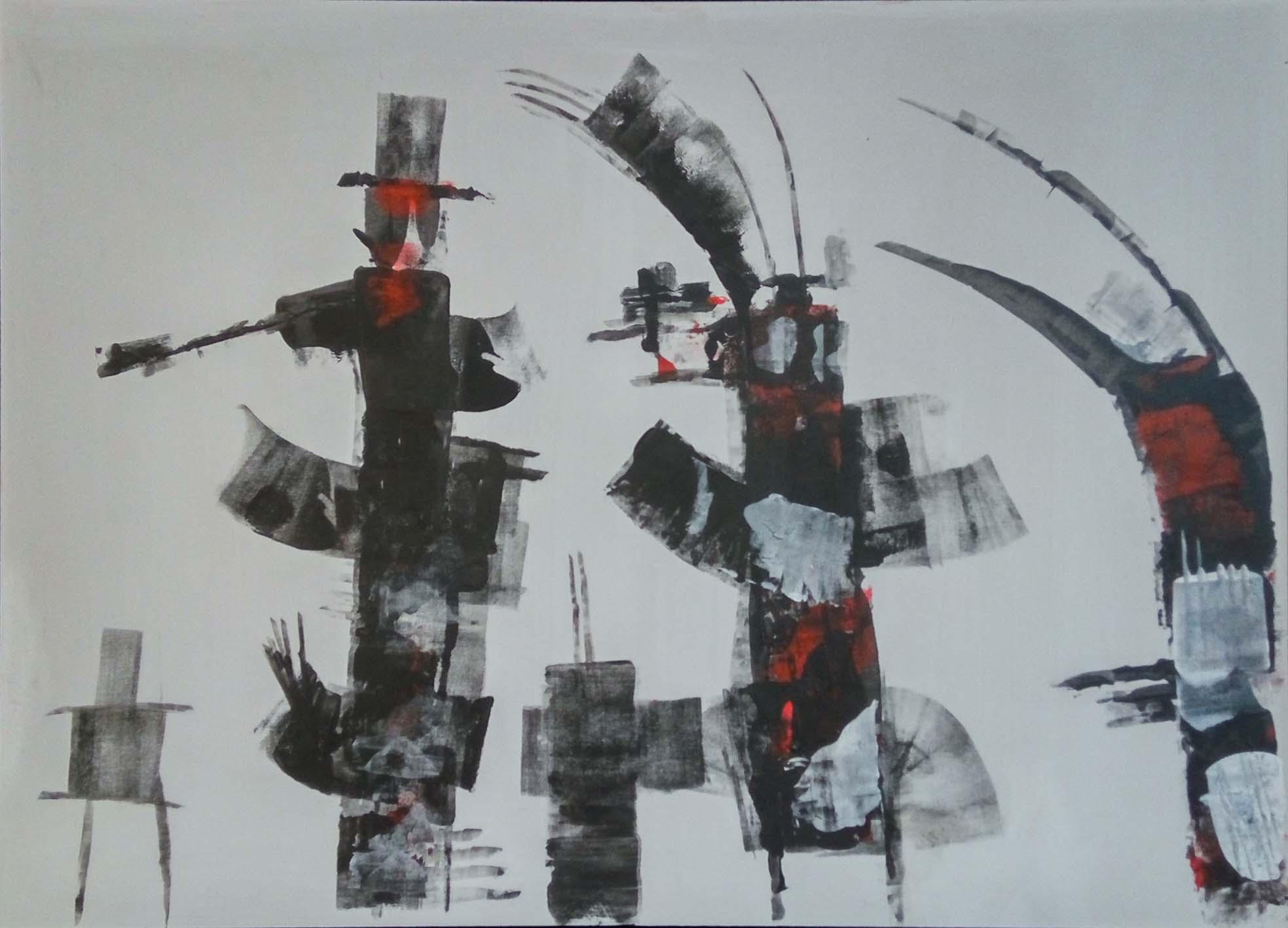 Wim van Oostrom nr 4 - acryl op paneel - 50x70cm