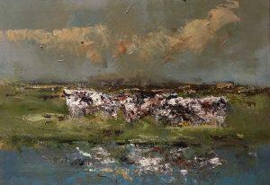 Ruud Brinks Landschap met koeien 50x70cm 500px