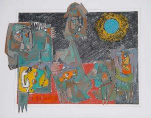 0284 gemengde techniek op papier 50x70 cm 1981
