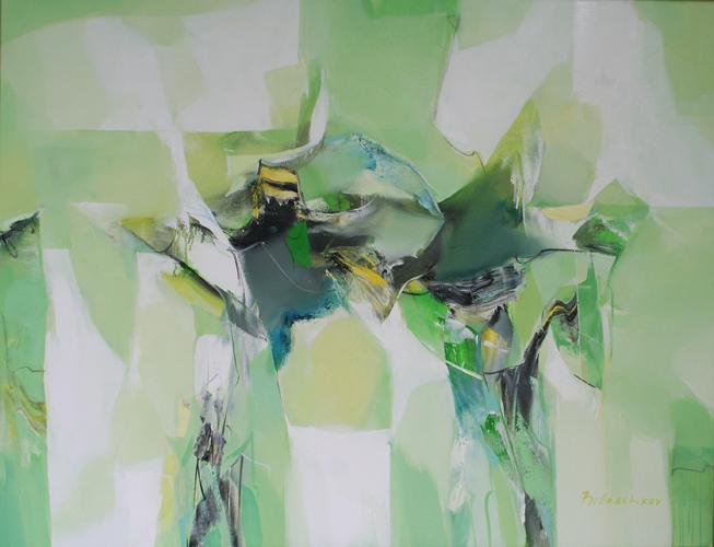 Grüne Zitadelle - 100x120 cm - Oel