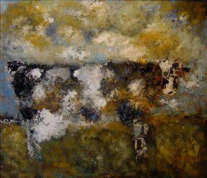 Koe olieverf op linnen 120x140 cm