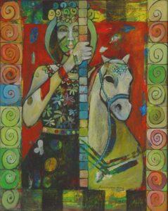 Angelica Keereweer-Carrousel prins-acrylverf en houtskool op doek-98x79cm