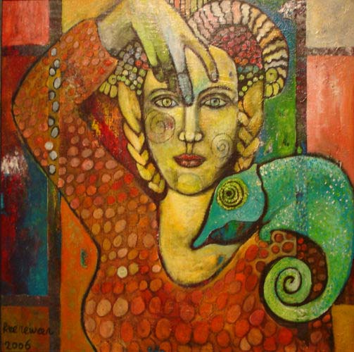 Angelica Keereweer-Chameleon Woman-60x60cm-acryl en houtskool op doek-2006