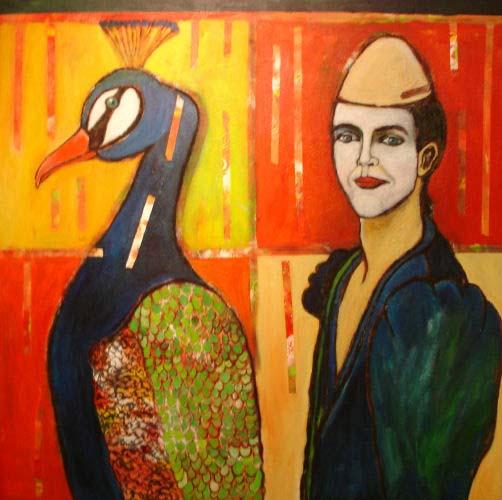 Angelica Keereweer-De witte clown-100x100cm-acryl en houtskool op doek-2007