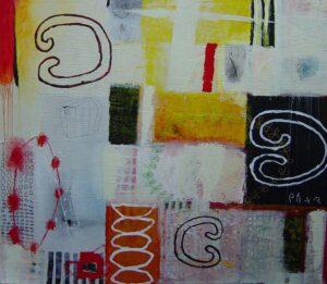 Anna Verrijt More bits and pieces gemengde techniek 120x120 cm 800x695px